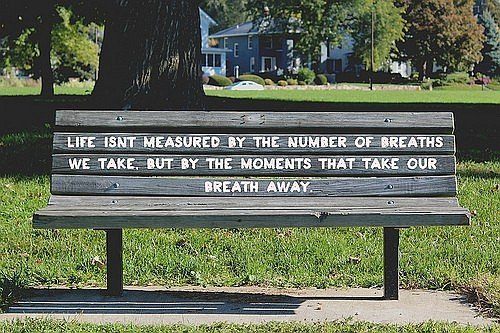 Life breathing on bench quote