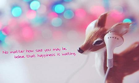 adorable deer with headphones love quote