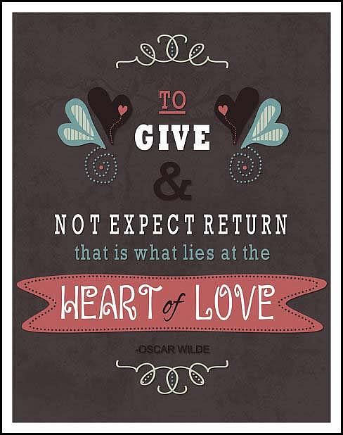 To Give And Not Expect Return