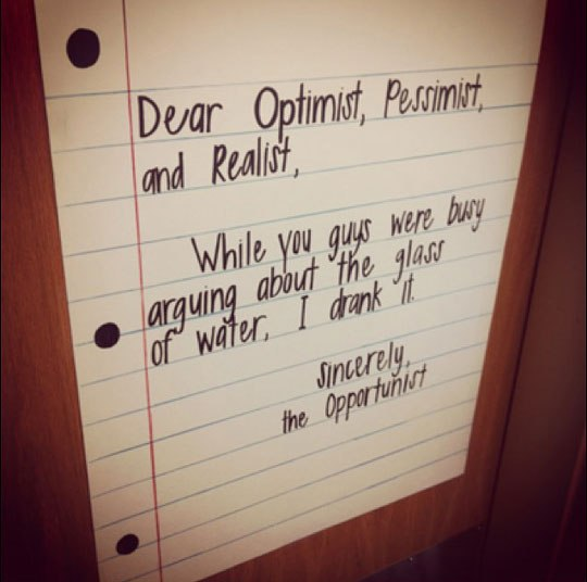 optimist-pessimist-opportunist funny quotes