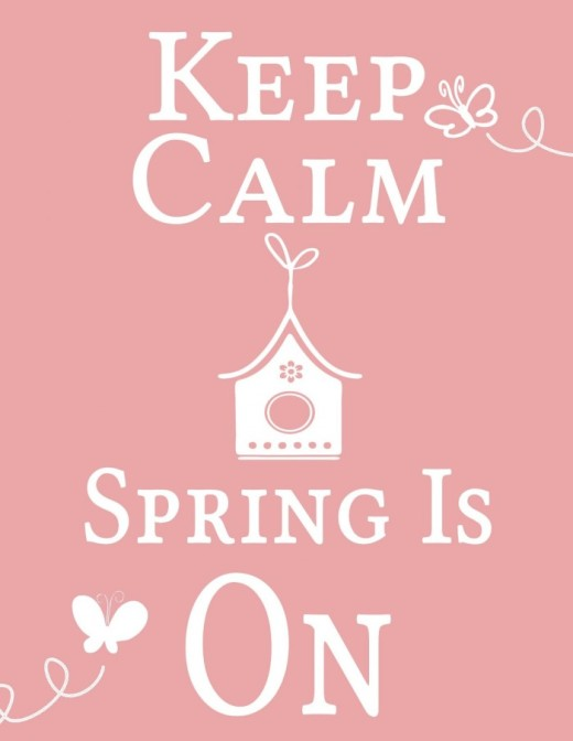 Keep calm spring is on quote