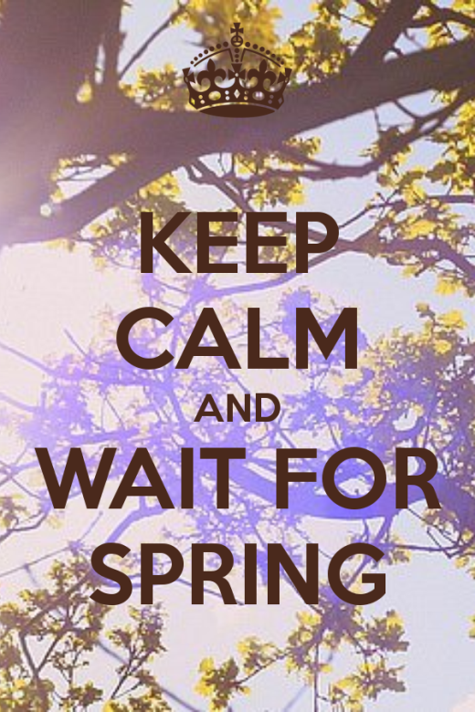 Keep calm and wait for spring quote